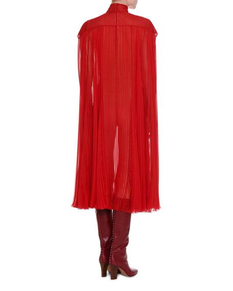 Mock-Neck Pleated Chiffon Dress