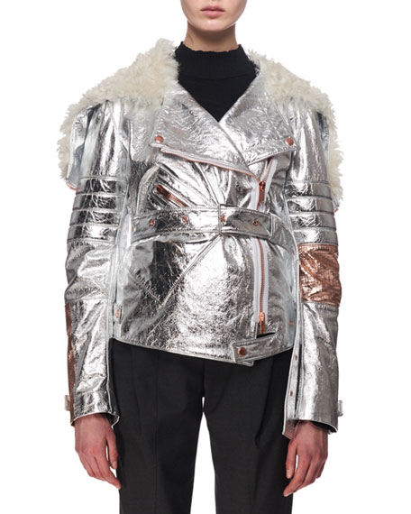 Metallic Leather & Shearling Moto Jacket, Silver