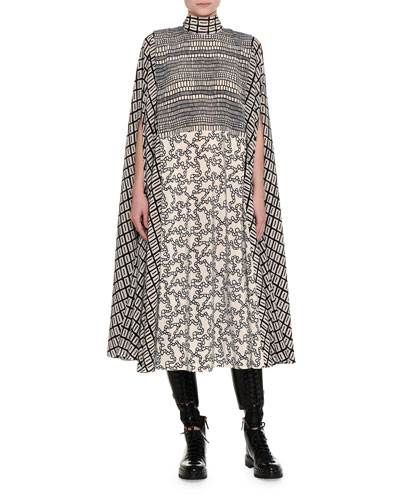 Mock-Neck Chain-Print Silk Crepe Cape Dress
