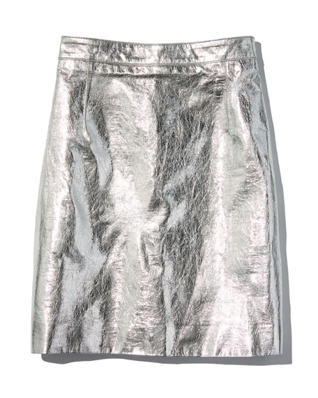 Metallic Leather Mini Skirt, Silver