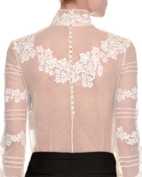 Floral-Embroidered Sheer Turtleneck Top