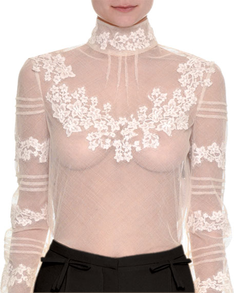 Floral-Embroidered Sheer Turtleneck Top