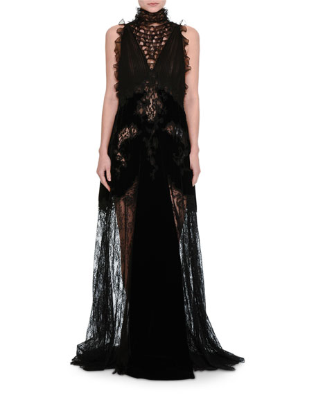 Valentino Lace & Chiffon Mock-Neck Gown with Velvet