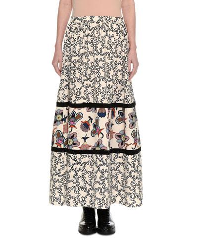 Chain & Pop-Flower Maxi Skirt