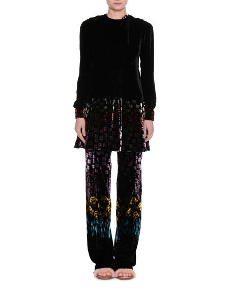 Floral-Print Velvet Drawstring Pants