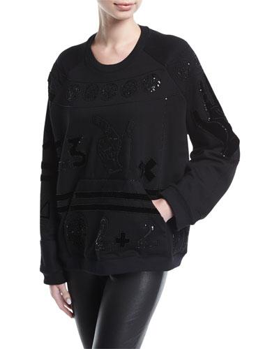 Counting Sequined Velvet & Neoprene Sweatshirt