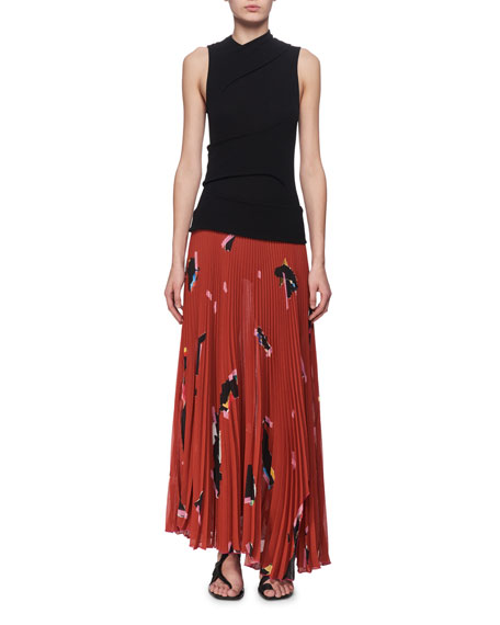 Proenza Schouler Jersey & Plisse Pleated Maxi Dress,
