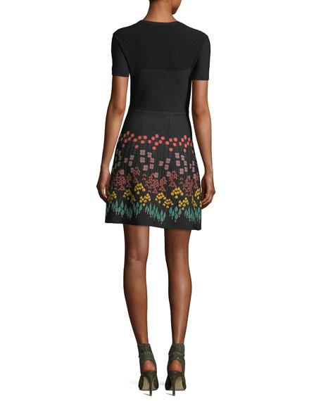 Short-Sleeve Floral A-Line Minidress