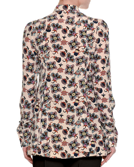 Pop-Flower Printed Silk Shirt