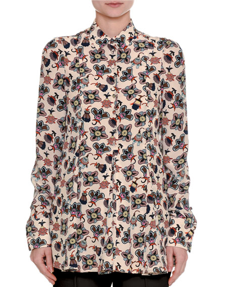 Valentino Pop-Flower Printed Silk Shirt