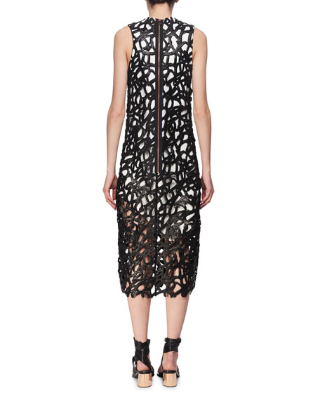 Coated Guipure Lace Midi Dress, Black/White