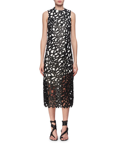 Coated Guipure Lace Midi Dress, Black/White