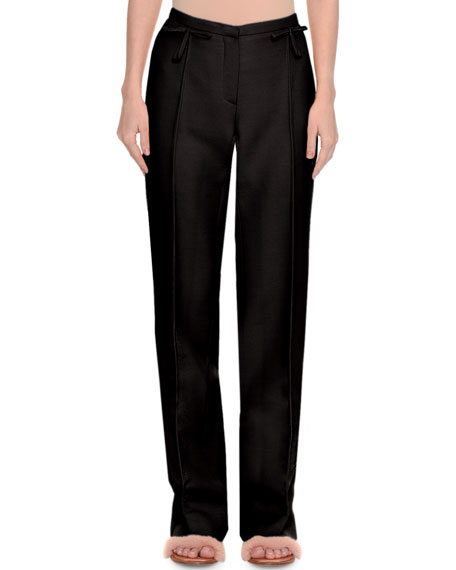 Crepe Couture Wide-Leg Pants with Bows