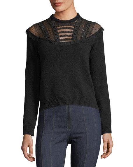 VALENTINO Pop-Flower Embroidered Wool-Cashmere Sweater, Black