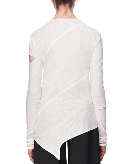 Long-Sleeve Spiral Tissue Jersey T-Shirt, White