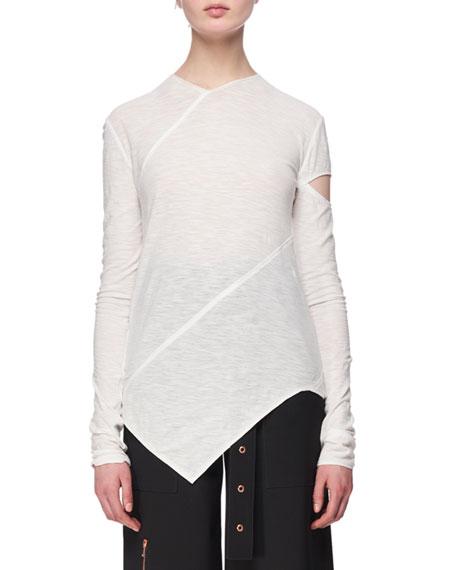 Proenza Schouler Long-Sleeve Spiral Tissue Jersey T-Shirt, White