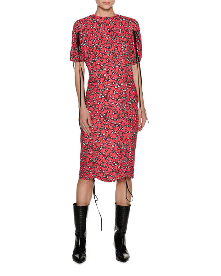 Marni Rose Vine-Print Midi Dress with Tie Details,