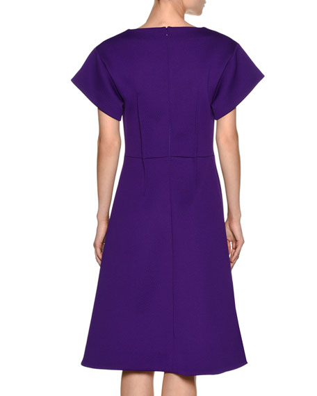 Technical Wool Structured A-Line Dress, Purple