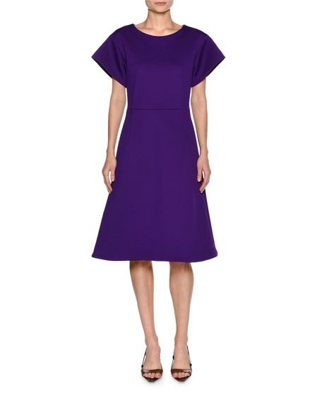 Marni Technical Wool Structured A-Line Dress, Purple