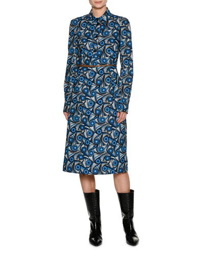 Vertigo Belted Poplin Shirtdress, Blue