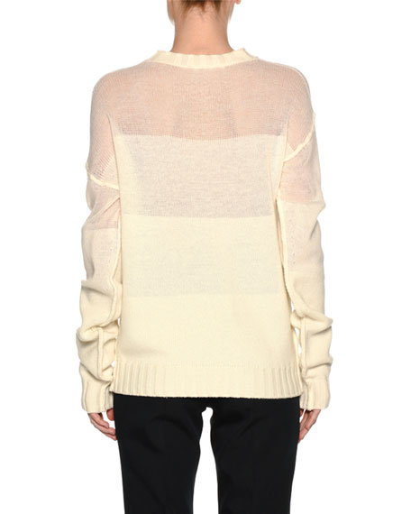 Wool-Cashmere Fade Sweater, White