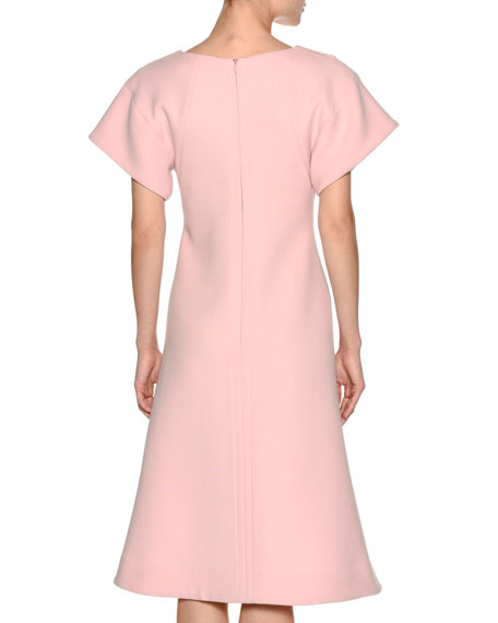 Short-Sleeve Crepe A-Line Swing Dress, Light Pink