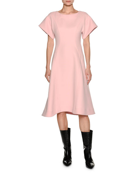 Marni Short-Sleeve Crepe A-Line Swing Dress, Light Pink