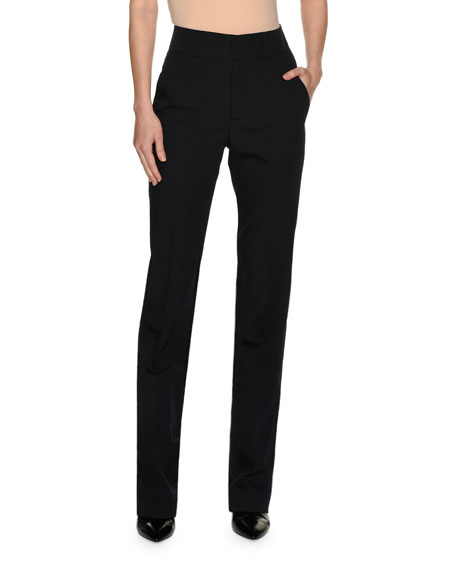 Technical Wool Slim Pants, Blue/Black