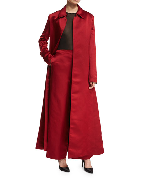 Neyton Long Silk Satin Coat