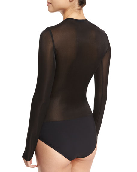 Olin Mesh Long-Sleeve Bodysuit