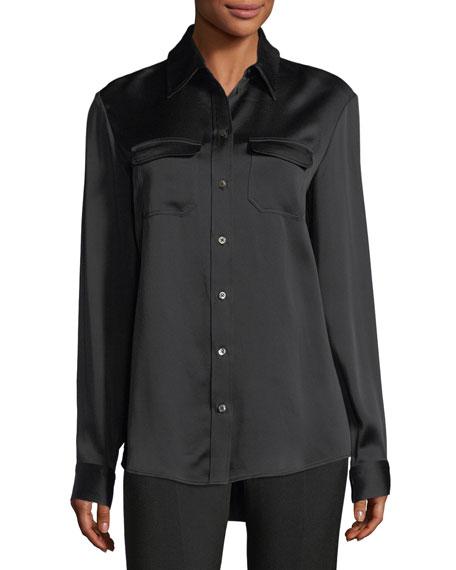 Patrew Satin Patch-Pocket Shirt