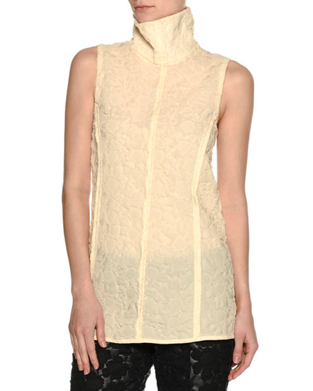Sheer 3D Floral Turtleneck Top, Cream