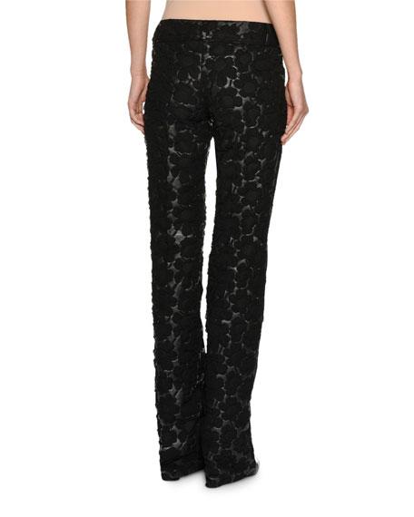 3D Floral Slim Pants, Black