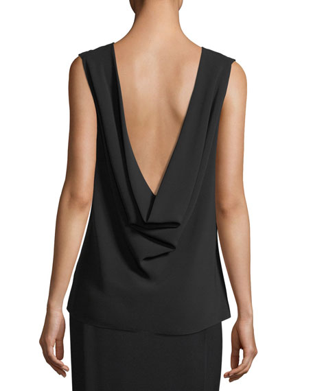 Sandra Draped Silk V-Back Top