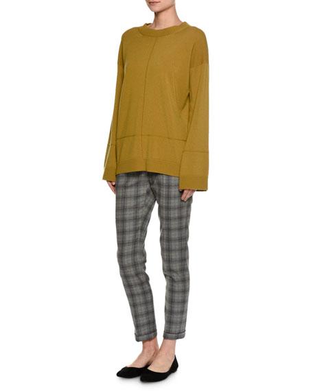 Plaid Virgin Wool Slim Ankle Pants