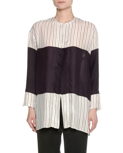 Striped Colorblock Silk Shirt