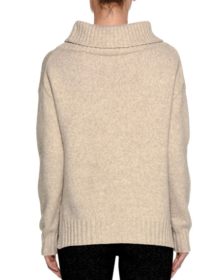 Cowl-Neck Wool-Nylon Sweater