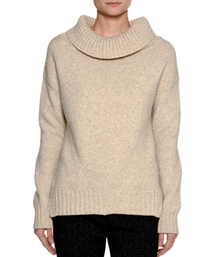 Cowl-Neck Wool-Nylon Sweater