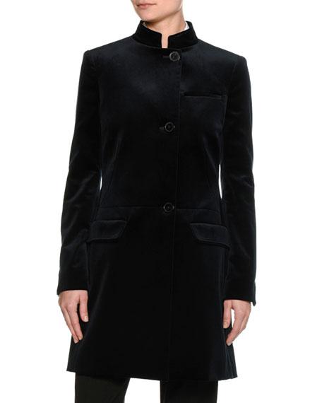 Velvet Tailored Mandarin-Collar Coat