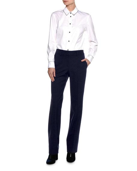 Virgin Wool Straight-Leg Pants