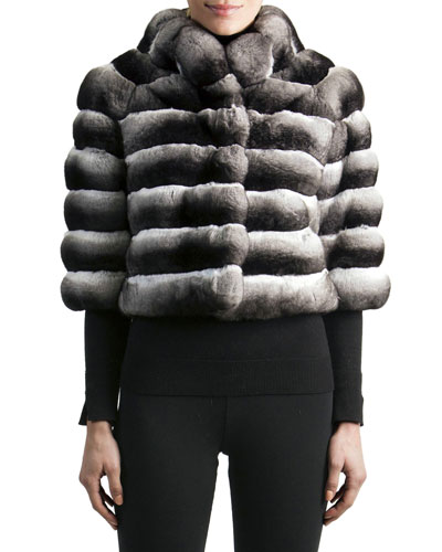 3/4-Sleeve Chinchilla Fur Jacket