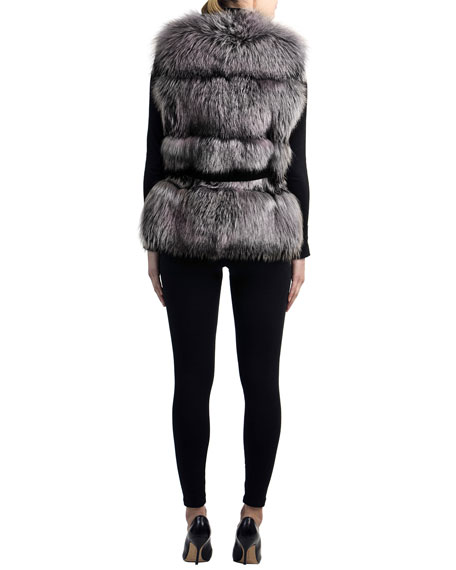 Belted Fox-Fur Vest with Cashmere Inserts