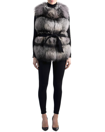 Belted Fox-Fur Vest with Suede Inserts