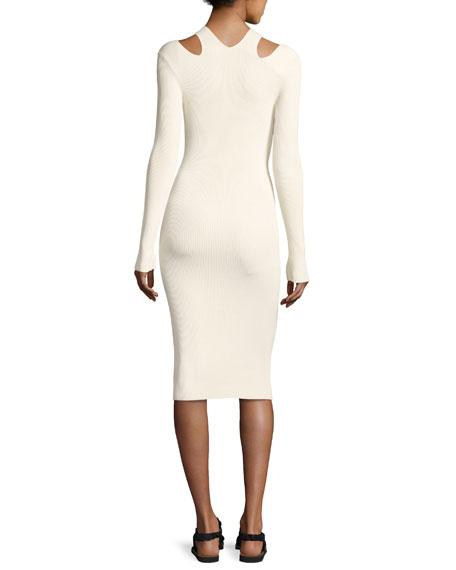 Venia Slit-Shoulder Midi Dress