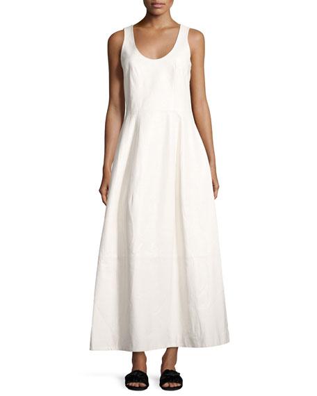 Bond Sleeveless Scoop-Neck Leather Maxi Dress