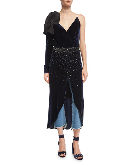 Johanna Ortiz Carmelilla Embellished Velvet Bow-Shoulder Dress