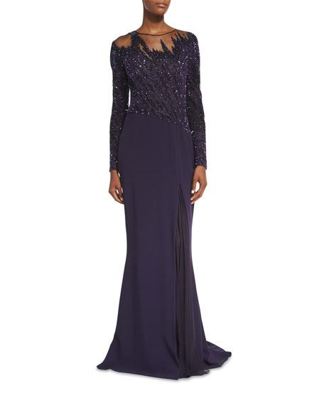Pamella Roland Brushstroke-Beaded Godet Gown