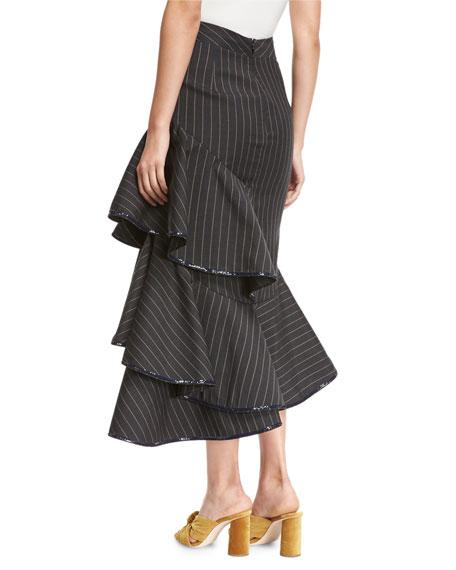 Beduina Pinstripe Wool Flounce Skirt