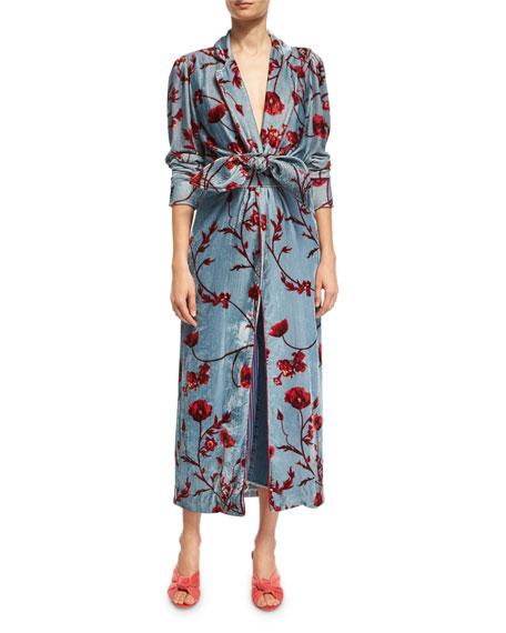 Johanna Ortiz Florari Floral Velvet Belted Kimono Jacket