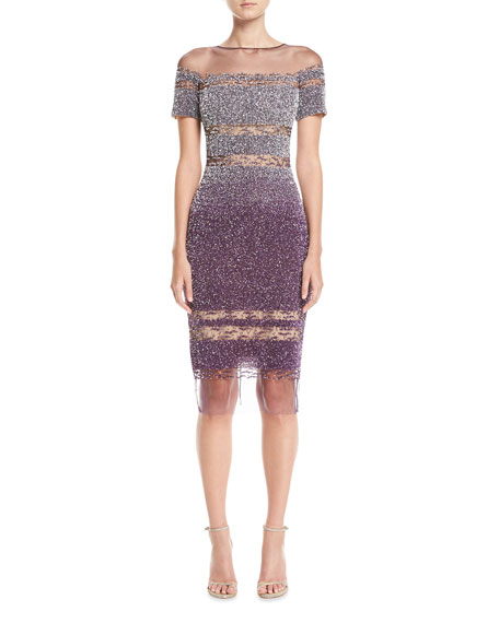 Pamella Roland Short-Sleeve Ombre Sequined Cocktail Dress